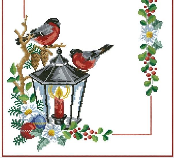 Схема новогодней салфетки вышивка крестом